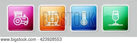 Set Line Tractor, Fermentation Of Grapes, Meteorology Thermometer And Wine Glass. Colorful Square Bu
