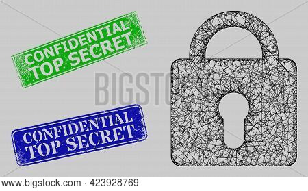 Carcass Crossing Mesh Lock Model, And Confidential Top Secret Blue And Green Rectangular Scratched S
