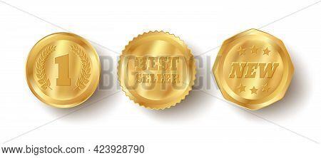 Vector Set Golden Web Luxury Award Banners. Premium Web Golden Banners. Vector Bestseller Badges.
