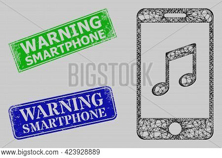 Carcass Network Smartphone Music Model, And Warning Smartphone Blue And Green Rectangular Corroded S