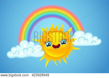Vector Illustration Of A Rainbow With Clouds And Sun In Kawaii Style. Vector Sun And Clouds With Rai