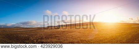 Desert landscape of Iceland. Rocky Landscape Of Iceland Volcanic Areas panorama