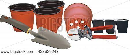 Pots For Plants, Shovel And Scissors For Gardening Gardening
