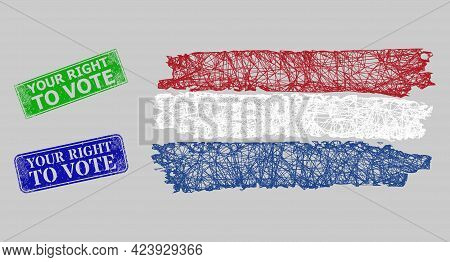 Carcass Net Netherlands Flag Model, And Your Right To Vote Blue And Green Rectangle Dirty Watermarks