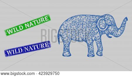 Wireframe Net Elephant Model, And Wild Nature Blue And Green Rectangle Corroded Seals. Frame Net Ima