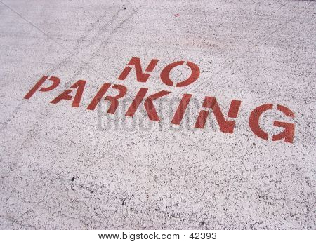 Sign Painted On Area Of Parking Lot