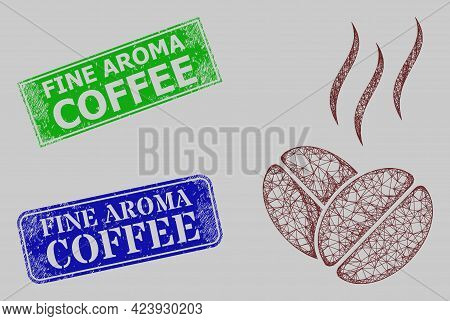 Wireframe Net Coffee Aroma Model, And Fine Aroma Coffee Blue And Green Rectangular Grunge Stamp Seal