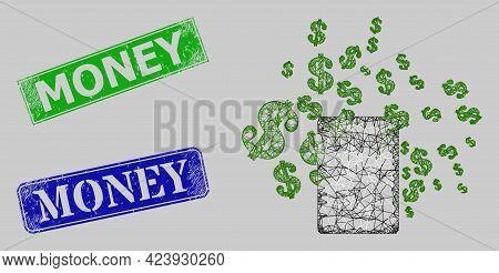 Carcass Net Mesh Money Calculator Model, And Money Blue And Green Rectangular Scratched Seals. Carca