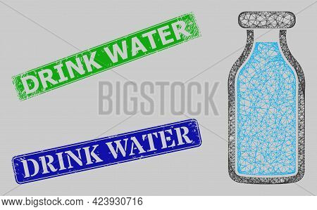 Carcass Net Mesh Milk Bottle Model, And Drink Water Blue And Green Rectangle Corroded Stamp Seals. C