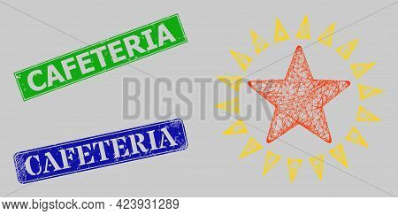 Wireframe Crossing Mesh Star Shine Model, And Cafeteria Blue And Green Rectangle Corroded Stamp Seal