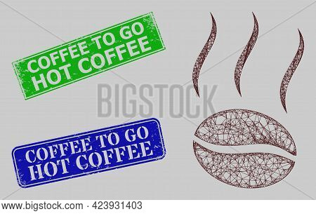 Wireframe Net Coffee Vapor Model, And Coffee To Go Hot Coffee Blue And Green Rectangle Corroded Stam