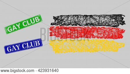 Carcass Net Mesh Germany Flag Model, And Gay Club Blue And Green Rectangular Rubber Seal Prints. Car