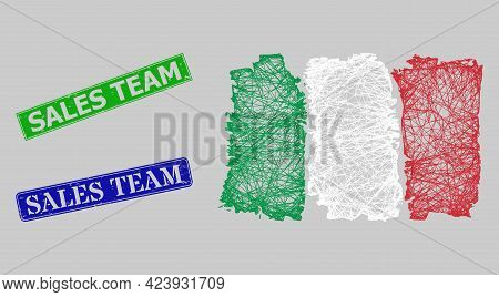 Carcass Net Mesh Italy Flag Model, And Sales Team Blue And Green Rectangular Textured Seals. Frame N