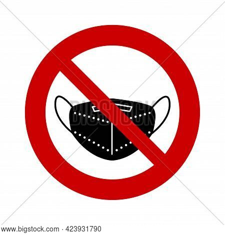 Black Face Mask In A Prohibition Sign. No Mask Needed.the Mask Is Not Required. Ffp2 Or Kn95 Medical