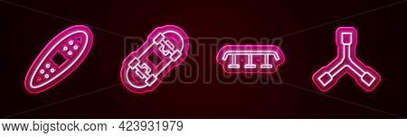 Set Line Longboard Or Skateboard, Skateboard, Stairs With Rail And Y-tool. Glowing Neon Icon. Vector