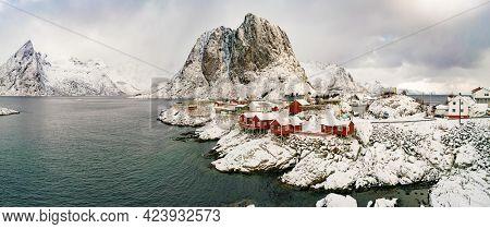 Snow in Mountain. Winter background in Reine, Lofoten Islands, Norway