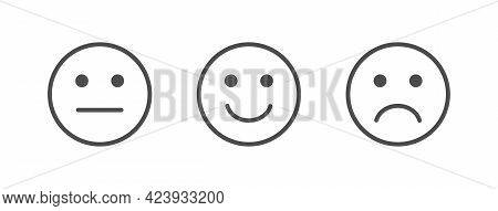 Feedback Line Art Icons Set. Review Emoji Reaction. Survey Concept. Satisfaction Scale. Business Ser