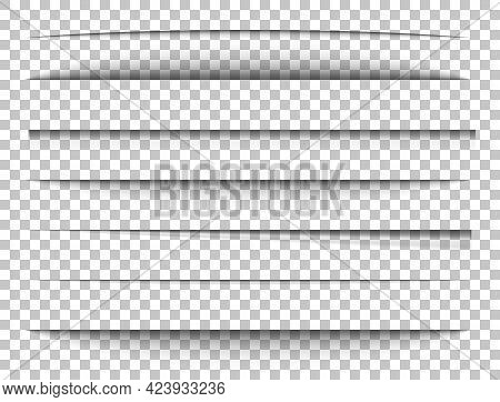 Paper Shadows Set. Divider Effect On Transparent Background. Frame Page. Website Edge. Border Blank.