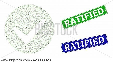 Network Approve Image, And Ratified Blue And Green Rectangular Unclean Stamp Seals. Polygonal Wirefr
