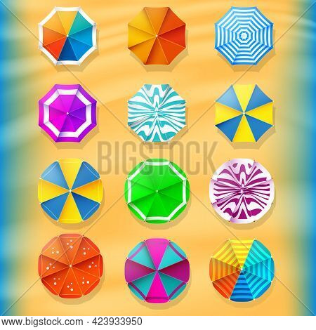 Collection Summer Of Parasols. Beach Umbrellas Top View Icons. Travel Agency Design Elements. Stock