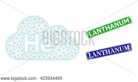Mesh Helium Gas Image, And Lanthanum Blue And Green Rectangle Scratched Seal Prints. Mesh Carcass Im