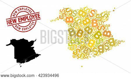 Distress New Employee Stamp, And Banking Collage Map Of New Brunswick Province. Red Round Stamp Seal