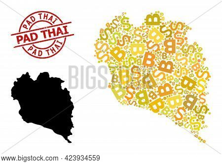 Scratched Pad Thai Stamp Seal, And Money Mosaic Map Of Koh Phangan. Red Round Stamp Includes Pad Tha