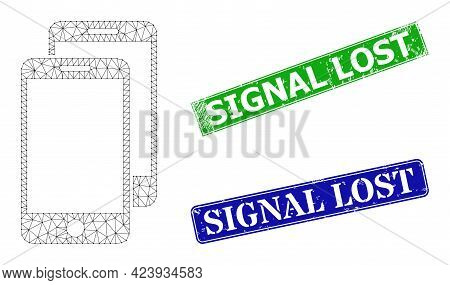 Network Smartphones Image, And Signal Lost Blue And Green Rectangular Dirty Watermarks. Polygonal Wi