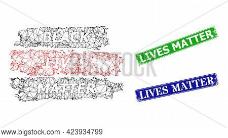 Net Black Lives Matter Image, And Lives Matter Blue And Green Rectangular Unclean Stamp Seals. Polyg