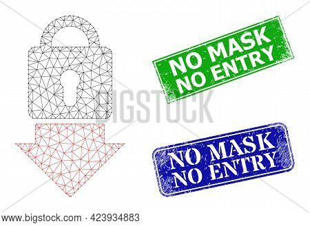 Polygonal Lock Down Image, And No Mask No Entry Blue And Green Rectangle Corroded Stamps. Mesh Carca