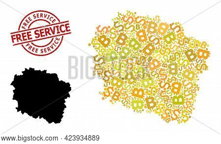 Scratched Free Service Stamp, And Money Collage Map Of Kujawy-pomerania Province. Red Round Stamp Se