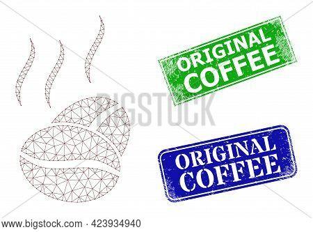Polygonal Cacao Aroma Image, And Original Coffee Blue And Green Rectangular Grunge Badges. Polygonal