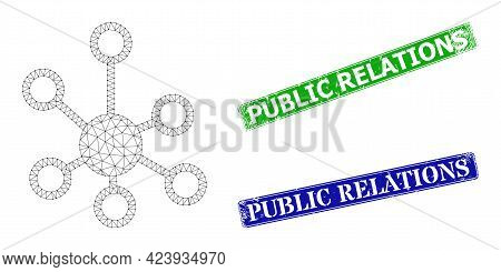 Triangular Relations Image, And Public Relations Blue And Green Rectangular Dirty Seal Imitations. M