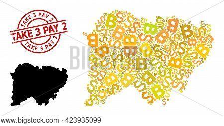 Distress Take 3 Pay 2 Seal, And Bank Mosaic Map Of Salamanca Province. Red Round Seal Has Take 3 Pay