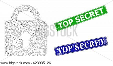 Mesh Lock Model, And Top Secret Blue And Green Rectangular Rubber Seals. Mesh Carcass Illustration D