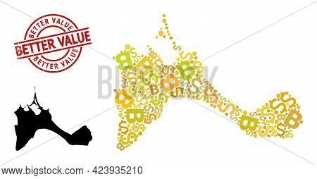 Textured Better Value Seal, And Financial Mosaic Map Of Formentera Island. Red Round Seal Includes B