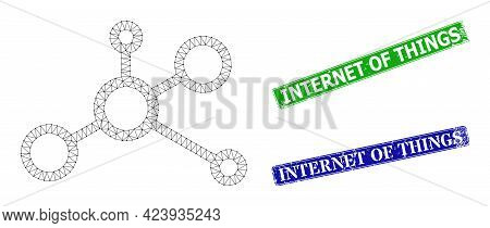 Net Connectivity Image, And Internet Of Things Blue And Green Rectangle Scratched Stamp Seals. Polyg