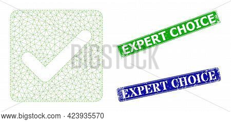 Polygonal Confirmation Checkbox Image, And Expert Choice Blue And Green Rectangular Rubber Stamp Sea