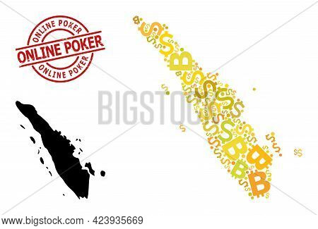 Textured Online Poker Stamp Seal, And Currency Mosaic Map Of Sumatra Island. Red Round Stamp Seal Co