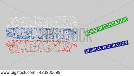 Triangular Russia Flag Image, And Russian Federation Blue And Green Rectangle Textured Stamp Seals.