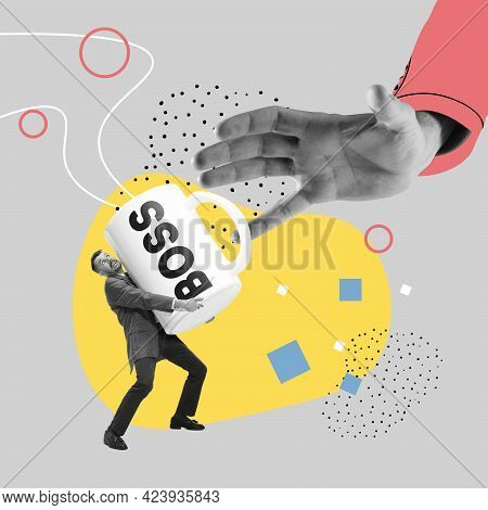 Helpful Worker. Everything For A Career. Businessman Giving Cup Of Coffee To Bass On Abstract Color