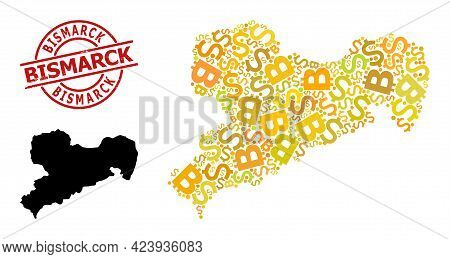 Distress Bismarck Stamp Seal, And Financial Mosaic Map Of Saxony State. Red Round Seal Includes Bism