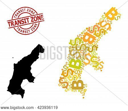 Scratched Transit Zone Seal, And Currency Mosaic Map Of Saipan Island. Red Round Stamp Seal Has Tran