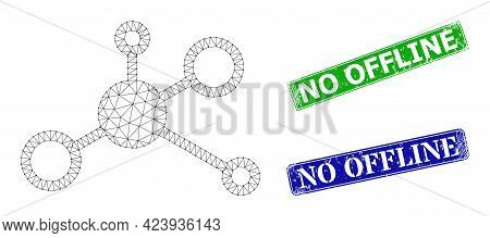 Net Central Hub Image, And No Offline Blue And Green Rectangular Rubber Stamps. Mesh Wireframe Image