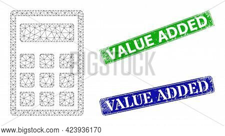 Polygonal Calculator Image, And Value Added Blue And Green Rectangular Textured Seals. Polygonal Wir