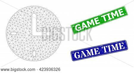 Mesh Time Image, And Game Time Blue And Green Rectangular Unclean Watermarks. Mesh Carcass Image Is