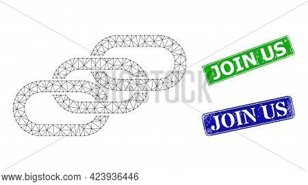 Polygonal Chain Links Image, And Join Us Blue And Green Rectangle Scratched Stamp Seals. Mesh Wirefr