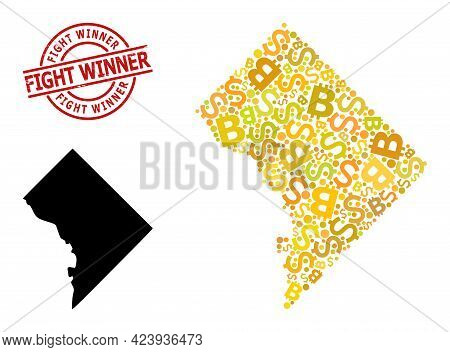 Scratched Fight Winner Stamp Seal, And Bank Mosaic Map Of Washington Dc. Red Round Stamp Includes Fi