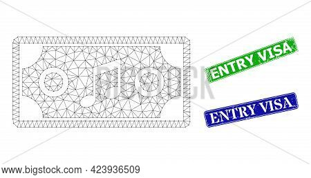Mesh Concert Ticket Image, And Entry Visa Blue And Green Rectangular Dirty Seals. Mesh Wireframe Ill