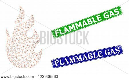 Network Fire Flame Image, And Flammable Gas Blue And Green Rectangular Dirty Stamp Seals. Mesh Carca